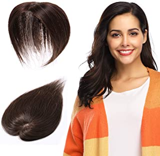 100% Remy Human Hair Silk Base Top Hairpieces Replacement Clip in Topper For Women Crown Top Piece Long 14''/14inch #4 Medium Brown 23g