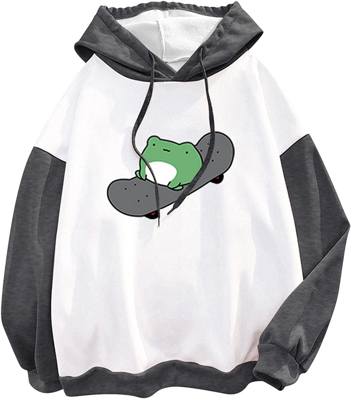 Sweatshirts for Women,Women's Fashion Hoodies & Sweatshirts Cute Cartoon Frog Print Lightweight Pullover Hoodies