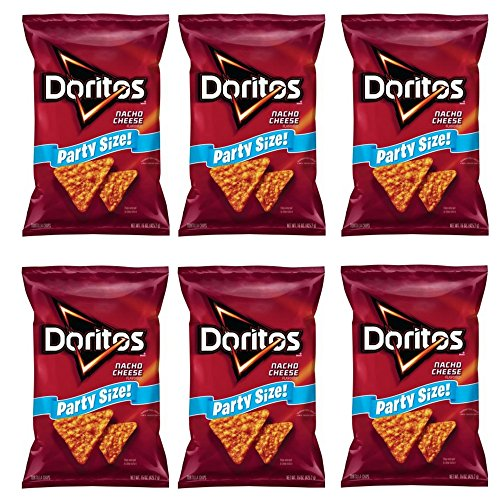 Doritos Nacho Cheese Flavored Tortilla Chips, Party Size! (15 Ounce) (6 PACK)