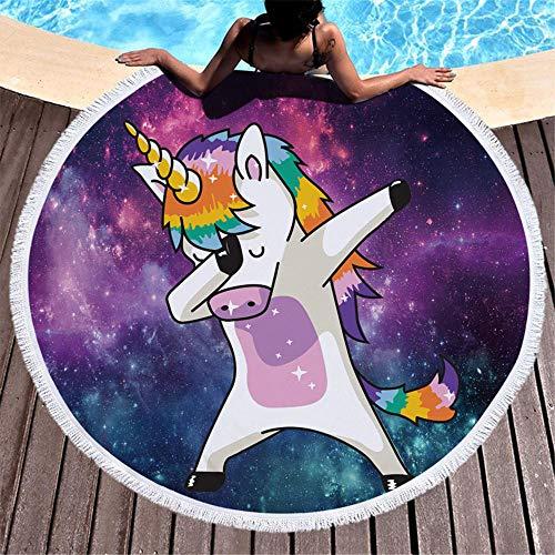 AMZJIEFU Unicornio Redondo Toalla de Playa Arco Iris Pelo Borla Tapiz Colorido Rosa Estera de Yoga Donut Dibujos Animados Toalla Manta
