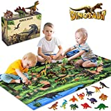 INNOCHEER Dinosaur Toys, tapete grande de juego 31.5 x 47.3 pulgadas con 21 dinosaurios aspecto realista, incluyendo T-Rex, triceratops, velociraptor, gran regalo para niños 3 años en adelante