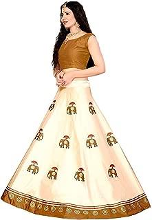 Indian Dresses Store Shivay Enterprise Women's Silk Semi-Stitched Digital Print Lehenga Choli (Elephant, Multicolour, Free Size)