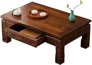 Tavolini da Salotto Tavolo in Legno massello Tavolo da balaustra Tavolo Vecchio Olmo Basso da caffè Giapponese (Color : Brown, Size : 80 * 50 * 30cm)