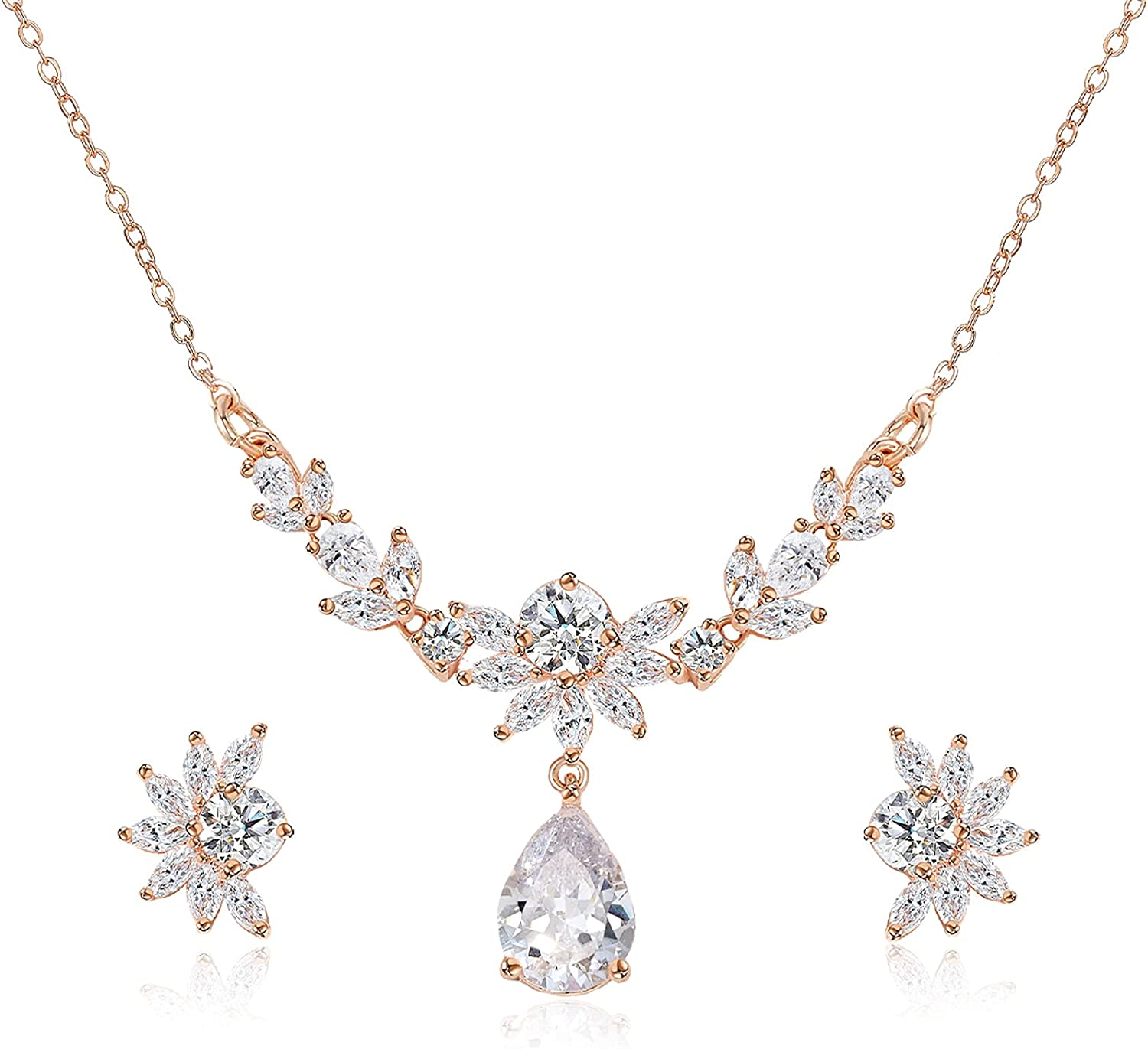 SWEETV Wedding Jewelry Sets for Brides,Bridal Teardrop Necklace Stud Earring Sets for Wedding Prom,Cubic Zirconia Marquise Jewelry Sets for Women