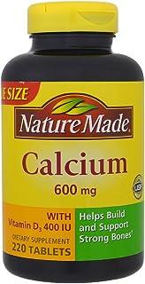Nature Made Calcium (Carbonate) 600 mg w. D3 400 IU Tablets Mega Size 220 tablets 美国直邮【亚马逊海外卖家】