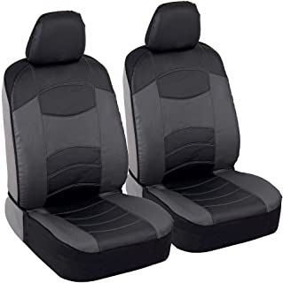 BDK Vegan Leather Sideless Car Seat Covers - Synthetic Leather Automotive Interior Protection Black/Light Gray - Front Seat Covers - Airbag Compatible - 3-Step Installation – (2PC) (Dark Gray)