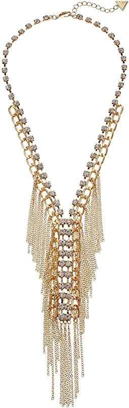 GUESS - Fringe & Stone Front Y Necklace