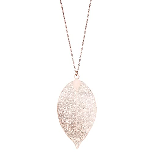 SIX Lange Halskette: Filigrane Kette mit Anhänger in Form eines Blattes, Rosegold, zarte Maserung, Modeschmuck für jeden Anlass (741-624)