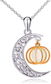 Halloween Jewelry 925 Sterling Silver Moon and Pumpkin Bat Luminous Beads Glow Pendant Necklace, 18 inches