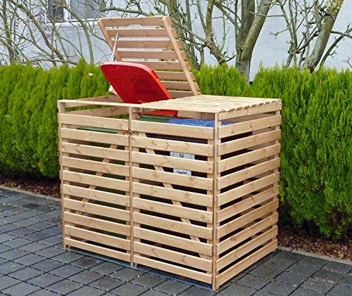 Promadino Mülltonnenbox Vario V für 2 Tonnen Natur