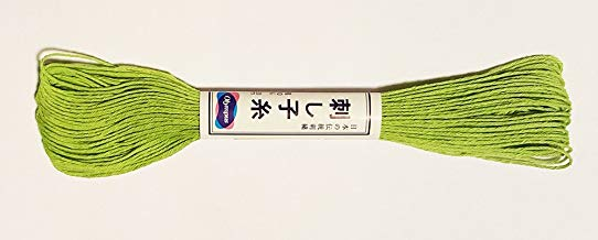 Olympus Sashiko Thread - LIME GREEN # 6 - 20m Skein - Japanese Embroidery & Quilting