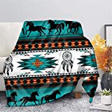 CLOHOMIN Southwest Native American Flannel Microfiber Throw Blanket, Indian Tribal Aztec Geometry Red Pattern Travel Couch Bed Plush Blanket