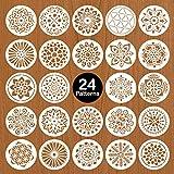 Mocoosy 24 plantillas de mandalas de 12,7 cm para pintar sobre madera, reutilizables, para pintar sobre piedra, decoración de piedra, azulejos, decoración de arte