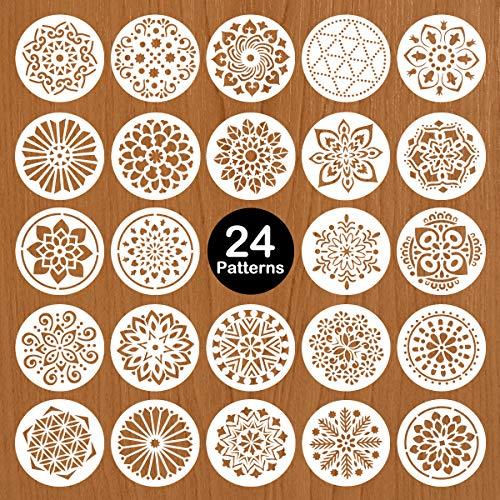 Mocoosy 24 Pack 5 Zoll Mandala Schablonen Mandala Dot Malwerkzeuge Vorlage Schablone zum Malen auf Holz Wiederverwendbare Mandala Handwerk für DIY Steinmalerei Steine Wandbodenfliesen Kunstbedarf