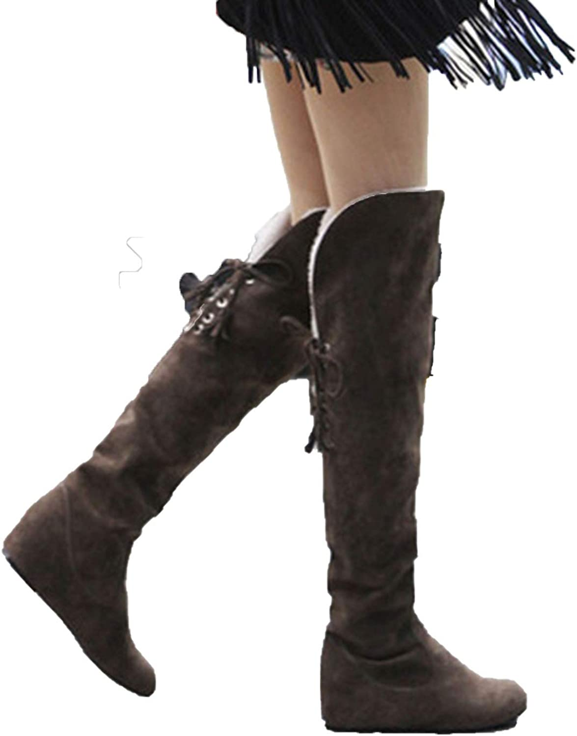 Together to create a miracle Womens Boots Faux Suede Over The Knee Flat Warm Boots Comfortable Thigh High Lace-up Winter shoes