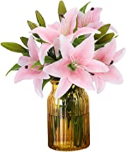 RERXN Artificial Tiger Lily Latex Real Touch Flower Home Wedding Party Decor,Pack of 5 (Light Pink)