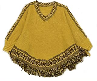 QZUnique Women's Batwing Sleeve Knit Poncho Cape V Neck Loose Pullover Sweater with Fringe Hem