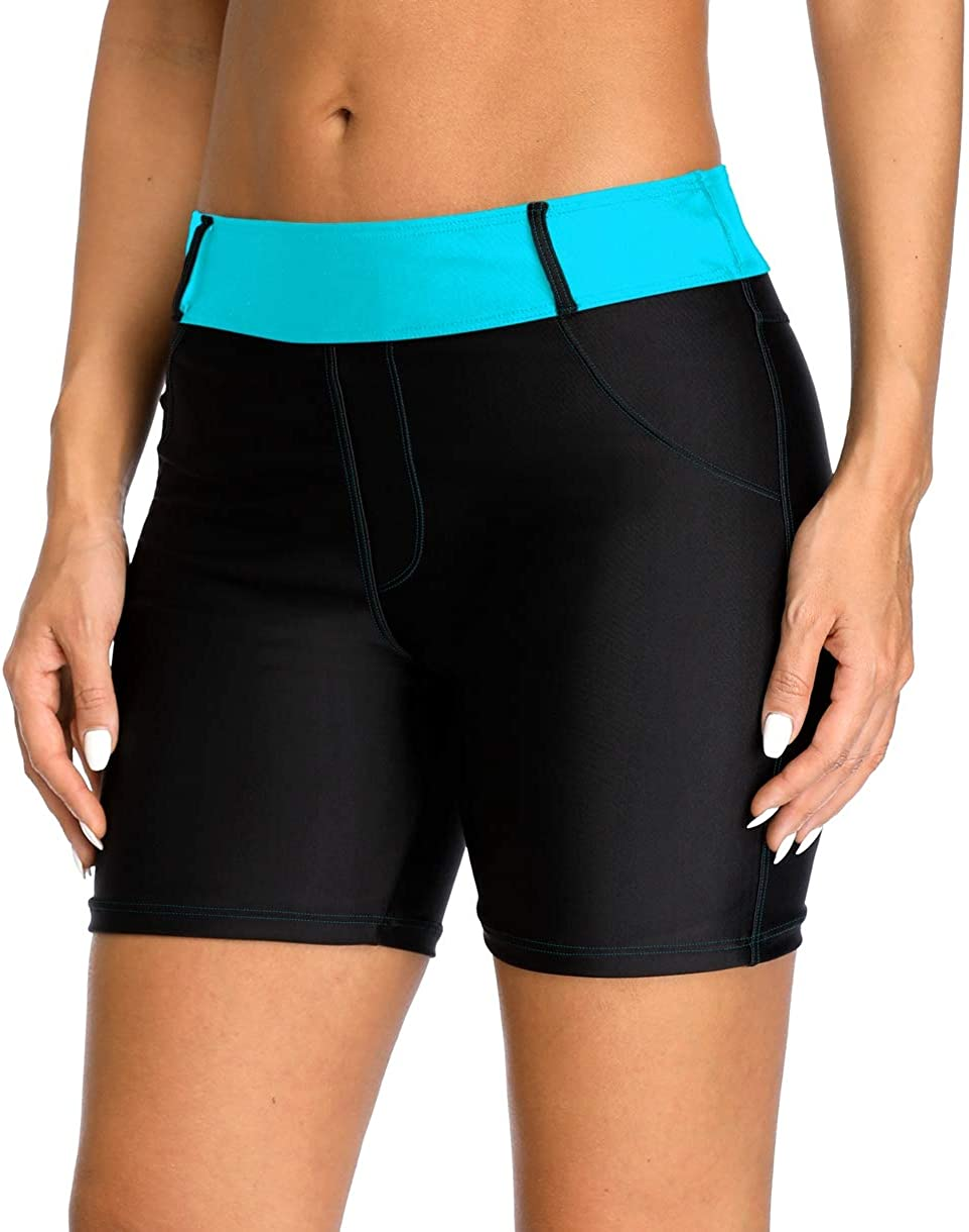 ATTRACO Womens Swim Shorts High Waist Swimsuits Shorts Swim Short with Pockets