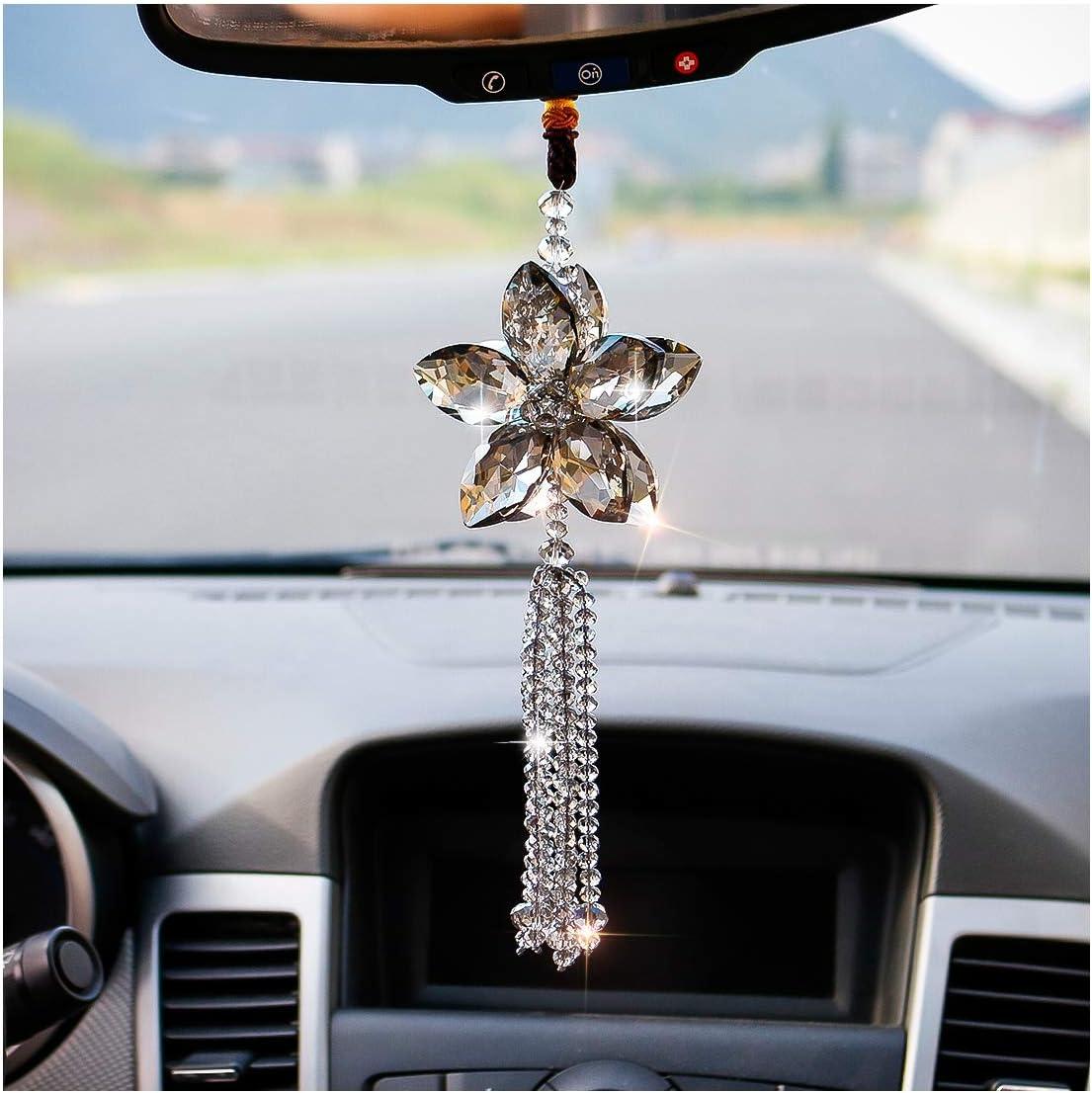 H D Hyaline Dora Kristall Auto Rückspiegel Ornament Auto Anhänger Glückskristall Fenster Zum Aufhängen Auto Zubehör Regenbogen Grau Küche Haushalt