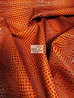 DuroLast Florida Gator 3D Embossed Vinyl Fabric by The Yard 2 Tone 3D Crocodile DIY Upholstery Accessories Apparel (Crush Orange (New Lot))
