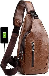Sling Backpack for Men Leather Chest Bag Crossbody Shoulder Bag with USB Charge Port Brown
