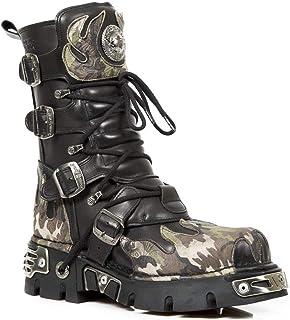 New Rock 591-S15 Boots Couleur Noir avec Flamme Vert Camouflage Réacteur Metallic Por Hommes Cuir Naturel Style Gothique R...