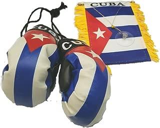 2pcs Cuba mini banner flag w/ Cuban Car Mirror Boxing Glove Pair Cuban