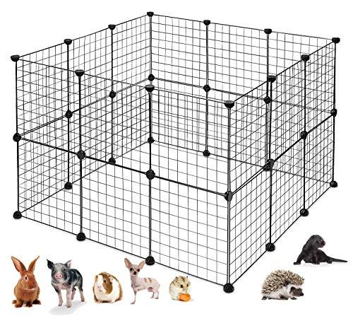PILIN Black Metal Wire Aufbewahrungswürfel Organizer, DIY Kleintierkäfig für Kaninchen, Meerschweinchen, Welpe | Pet Products Tragbarer Metalldraht-Hofzaun (24 PCS)