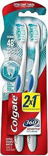Colgate 360° Pro Alivio Cepillo Dental Sensitive, Blanco/Azul, Paquete de 2