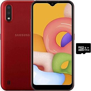 Samsung Galaxy A01 (16GB, 2GB RAM) 5.7  Infinity-V Display, Dual Rear Camera, Snapdragon 439, US & Global 4G LTE GSM Unlocked A015M/DS - International Mode (Red, 16GB + 64GB SD Bundle)
