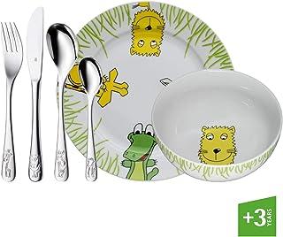WMF Safari - Vajilla para niños 6 piezas, incluye plato, cuenco y cubertería (tenedor, cuchillo de mesa, cuchara y cuchara pequeña) (WMF Kids infantil)