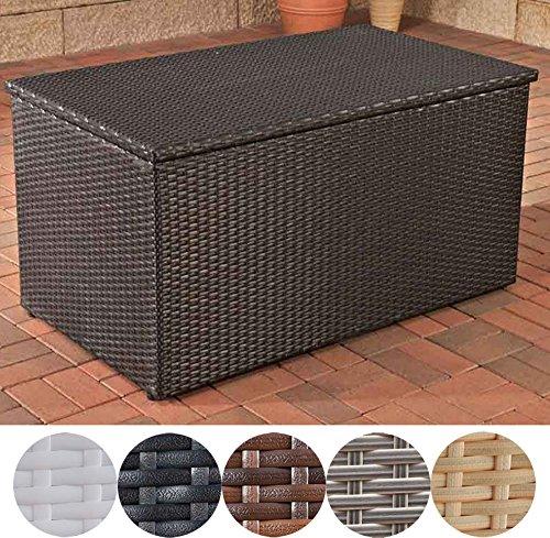 CLP Polyrattan-Aufbewahrungsbox I Gartentruhe für Kissen und Auflagen I Größen erhältlich L = 438 Liter, Schwarz
