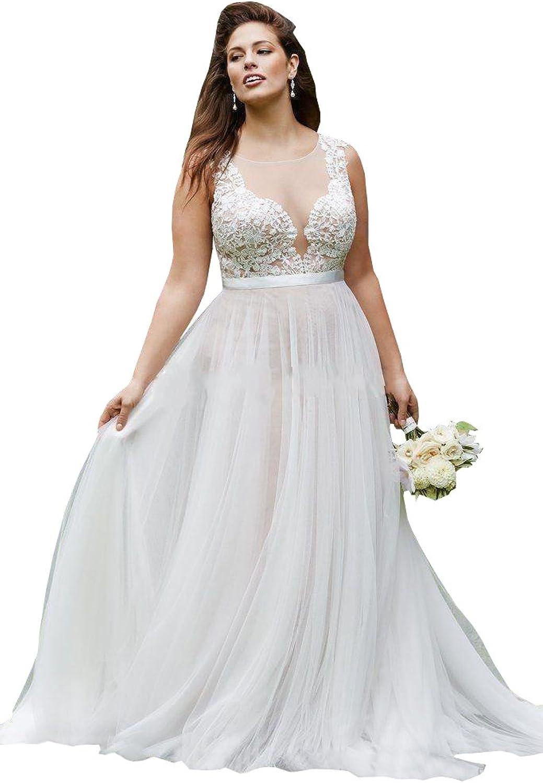 Ellystar Women's Simple ALine Tulle Sleeveless Plus Size V Neck Bridal Dresses