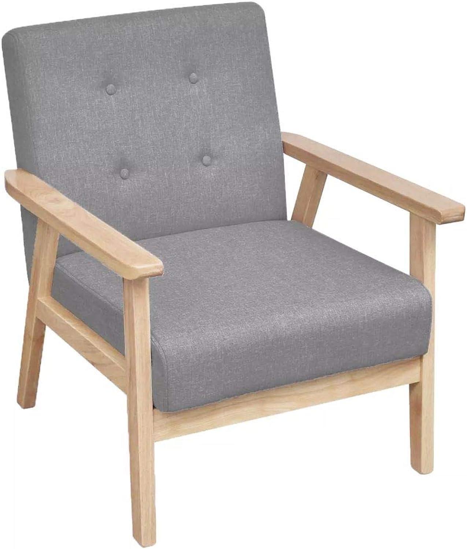 Xingshuoonline Sessel aus Stoff, Hellgrau, Stuhltiefe  48 cm