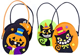 QCUTEP 4PCS Halloween Tote Bag, Trick-or-Treat Bags, Felt Candy Bags with Handles Gift Bags for Halloween Snacks, Candy Pa...
