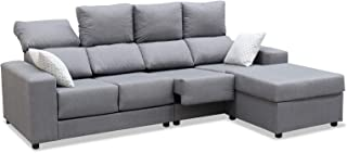 Mueble Sofa Chaiselongue, Subida Domicilio, 4 Plazas, Color Gris, Extensible y Reclinable, ref-126
