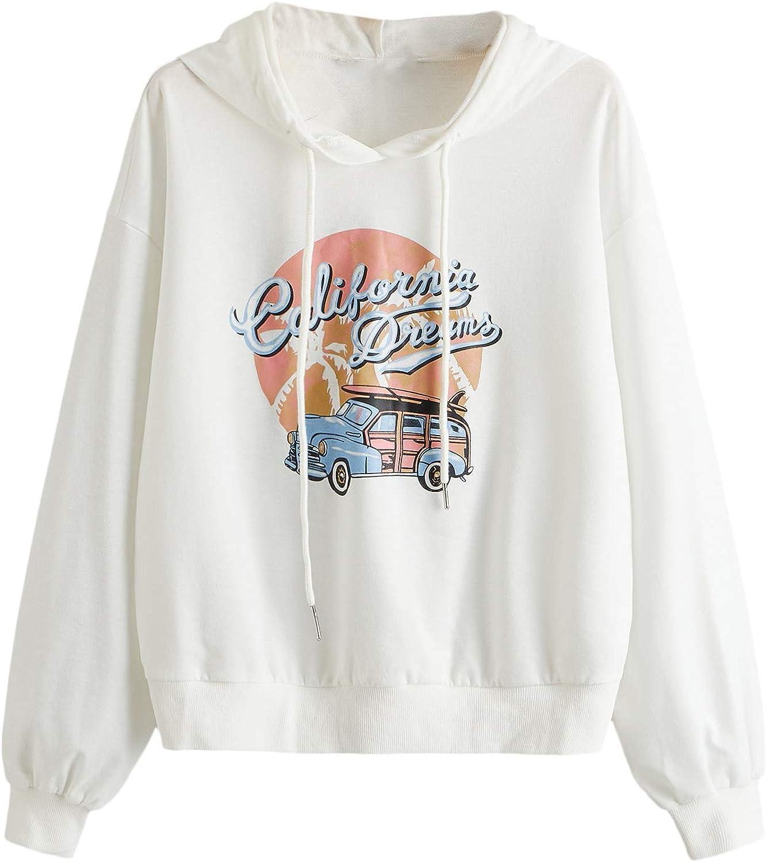 SweatyRocks Sweatshirt Women's Pullover Sweatshirt Car Print Hoodie