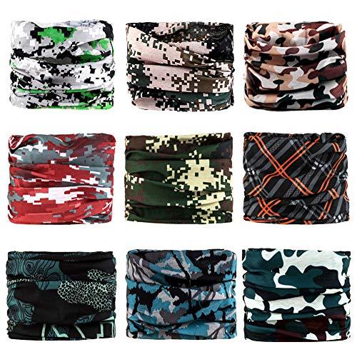 HIALTODAY Nahtlose Multifunktionstuch Kopfbedeckungen Bandana Schal - Elastischer Halstücher Kopftuch Gamasche Sturmhaube Gesichtsmaske für Yoga Laufen Wandern