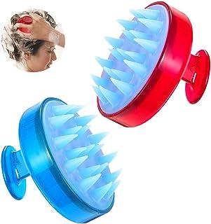 (2パック)頭皮マッサージャー、ヘッドマッサージャー、シリコンシャンプーブラシ、シャワーブラシ、トルマリン含有、角質除去ヘッドスクラバー