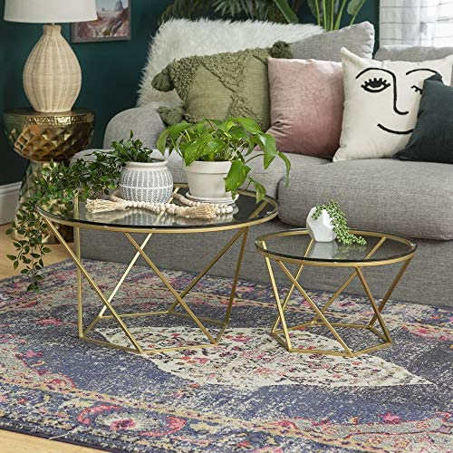 Best Millie Glass Nesting Coffee Tables in Clear Glass and Gold