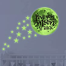 Love You to The Moon and Back Glow in Dark Stars & Moon Ceiling Wall Decals,Kid/Child/Baby Inspirational Room Decor and Party Birthday Gift