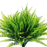 Artificial Boston Fern Plants Bushes 8 Pcs Faux Plants Shrubs Greenery UV Resistant for House Office Garden Indoor Outdoor Decor