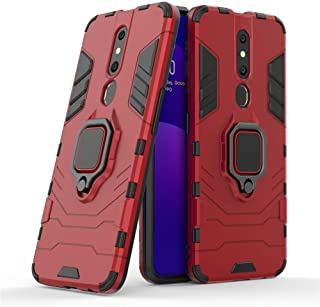 Compatible with OPPO F11 Pro Case, Metal Ring Grip Kickstand Shockproof Hard Bumper (Works with Magnetic Car Mount) Dual L...