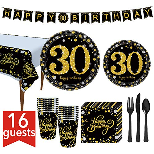 30th Birthday Party Supplies 127 Pcs – Serves 16, Includes Black and Gold Banner, Disposable Tablecloth, Knives, Spoons, Forks, Paper Plates, Napkins, Cups