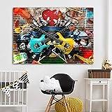 QWESFX Graffiti Street Wall Art Guitarra Música Arte Lienzo Pintura Impresiones clásicas para sala de estar Pintura de arte abstracto moderno (Imprimir sin marco) B 40x60CM