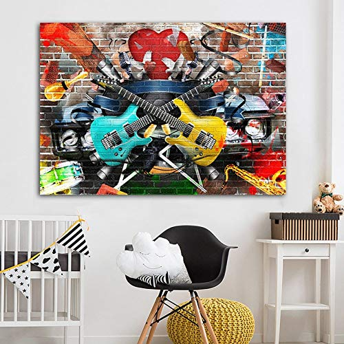 hetingyue Graffiti Straßenmusik Gitarre Kunst Leinwand Wandbild Wohnzimmer Klassische Drucke Moderne abstrakte Kunst rahmenlose Malerei 40X53CM