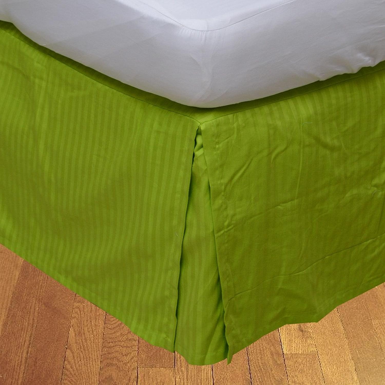 LaxLinens 450 fils cm2, 100%  coton, finition élégante 1pc Split jupe de lit d'angle en forme de goutte Longueur    21 cm, petit Double Motif perroquet Vert