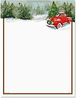 Red Truck Christmas Letter Papers - Set of 25, Holiday Stationery Papers, 8 1/2