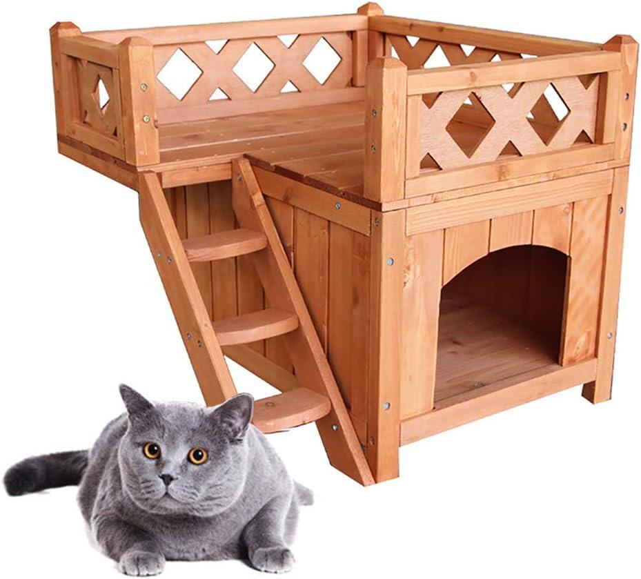 JW-YZWJ Casa de Gato de Madera Al Aire Libre de Lujo de Lujo Habitación Doble Piso Paisaje Terraza Terrón a Prueba de Intemperie Perritos Dog Puppies Garden Villa