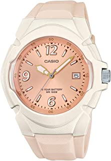 Women's Sporty Stainless Steel Quartz Watch with Resin Strap, Champagne, 15 (Model: LX-610-4AVCF)